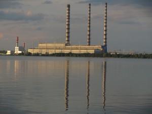 Лукомльская ГРЭС вид с озера
