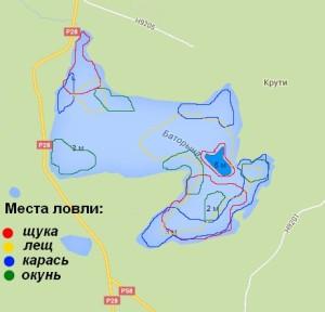 Озеро Баторино - места ловли