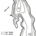Карта глубин озера Глыба