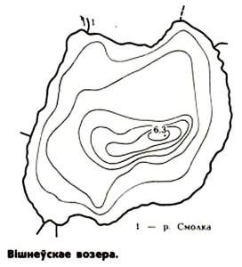 Карта глубин озера Вишневское