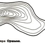 Карта глубин озера Оршино